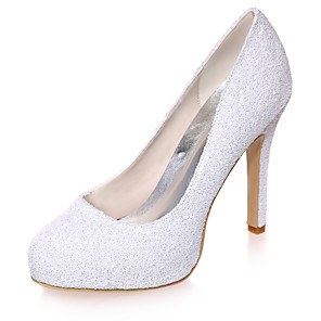 cheap Women's Sandals-Women's Wedding Shoes Spring / Summer Stiletto Heel Round Toe Minimalism Wedding Party & Evening Sequin Solid Colored Synthetics White