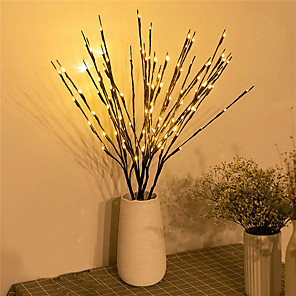 cheap LED String Lights-1pc/2pcs/3pcs/5pcs 20 Bulbs LED Willow Branch Lights Lamp Natural Tall Vase Filler Willow Twig Lighted Branch Christmas Wedding Decorative Lights
