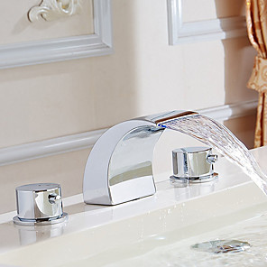 cheap Bathroom Sink Faucets-Bathroom Sink Faucet - Widespread / Waterfall Chrome Deck Mounted Two Handles Three HolesBath Taps