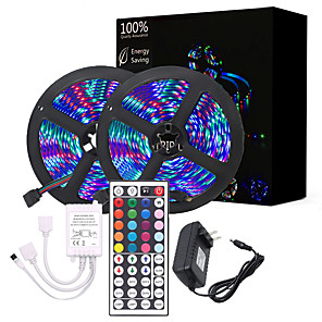 cheap Wall Clocks-2x5M Flexible LED Strip Lights / Light Sets / RGB Tiktok Lights Remote Controls 600 LEDs 3528 SMD 8mm 1 X 12V 2A Power Supply Cuttable / Color Gradient 12 V 1 set