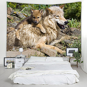 cheap Abstract Paintings-Wolf mother Digital Printed Tapestry Decor Wall Art Tablecloths Bedspread Picnic Blanket Beach Throw Tapestries Colorful Bedroom Hall Dorm Living Room Hanging