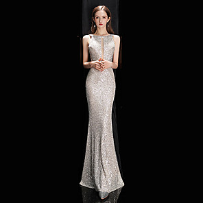 cheap Kids' Sandals-Mermaid / Trumpet Sexy Sparkle Engagement Prom Dress Jewel Neck Sleeveless Floor Length Sequined with Sequin 2020