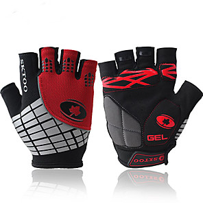 cheap Cycling Jersey & Shorts / Pants Sets-Bike Gloves / Cycling Gloves Windproof Anti-Slip Anti-Shock Fingerless Gloves Sports Gloves Lycra Red Orange Green for Outdoor Exercise Cycling / Bike