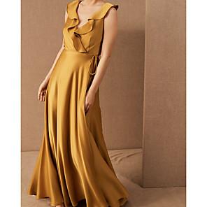 cheap Women's Heels-Sheath / Column Elegant Minimalist Engagement Prom Dress V Neck Sleeveless Floor Length Stretch Satin with Pleats Ruffles 2020