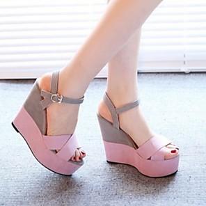 cheap Women's Sandals-Women's Sandals Summer Wedge Heel Open Toe Daily PU Yellow / Pink / Beige