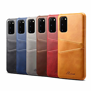cheap Samsung Case-ase For Samsung Galaxy S20/S20 Plus/S20 Ultra/S10/S10E/S10 5G/S10 Plus/Note 10/Note 10 Plus Card Holder / Shockproof Back Cover Solid Colored PU Leather