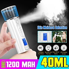 cheap Humidifiers-Portable LED Nanos Mist Sprayer Facial Body Nebulizer Steamer Moisturizing Skin Care Mini 40ml Face Spray Beauty Instruments5.0