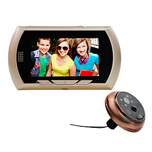 billiga Videoporttelefonsystem-4,3 tum högupplöst säkerhetsövervakning kattöga mänsklig kropp induktion video skytte nattvisningsmeddelande flera ringsignaler valfritt