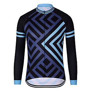 cheap Cycling Jerseys-21Grams Men's Long Sleeve Cycling Jersey Polyester Black / Blue Stripes Patchwork Bike Jersey Top Mountain Bike MTB Road Bike Cycling UV Resistant Breathable Quick Dry Sports Clothing Apparel