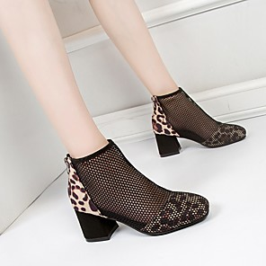 cheap Women's Boots-Women's Boots Summer Chunky Heel Square Toe Daily Mesh Booties / Ankle Boots Black / Brown