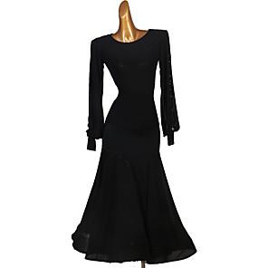cheap Ballroom Dancewear-Ballroom Dance Skirts Ruching Women's Performance Long Sleeve High Spandex