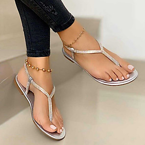 cheap Women's Sandals-Women's Sandals Summer Flat Heel Open Toe Daily PU Black / Gold / Silver