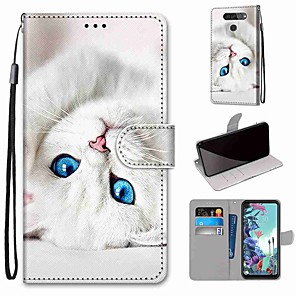cheap Other Phone Case-Case For LG Q70 / LG K50S / LG K40S Wallet / Card Holder / with Stand Full Body Cases White Cat PU Leather / TPU for LG K30 2019 / LG K20 2019