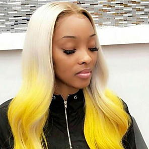 cheap Synthetic Lace Wigs-Synthetic Lace Front Wig Wavy Gaga Middle Part Lace Front Wig Ombre Long Ombre Color Synthetic Hair 22-26 inch Women's Heat Resistant Women Hot Sale Ombre Yellow / Glueless