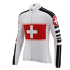 cheap Cycling Jersey & Shorts / Pants Sets-21Grams Men's Long Sleeve Cycling Jersey Polyester Black / White Switzerland National Flag Bike Jersey Top Mountain Bike MTB Road Bike Cycling UV Resistant Breathable Quick Dry Sports Clothing Apparel