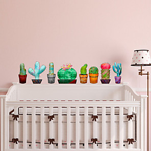 cheap Wall Stickers-Cactus Wall Stickers Plane Wall Stickers Decorative Wall Stickers PVC Home Decoration Wall Decal Wall / Fridge Decoration 1pc