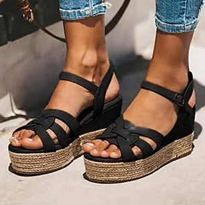 cheap Women's Sandals-Women's Sandals Wedge Sandals Platform Sandal Summer Platform Open Toe Daily PU Black / Red / Brown