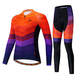 cheap Cycling Jerseys-Miloto Women's Long Sleeve Cycling Jersey with Tights Black / Orange Bike Breathable Sports Patterned Mountain Bike MTB Road Bike Cycling Clothing Apparel / Stretchy