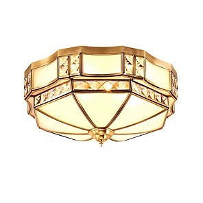 cheap Bathtub Faucets-QIHengZhaoMing 3-Light 35 cm Geometric Shapes Flush Mount Lights Glass Glass Brass Modern 110-120V / 220-240V