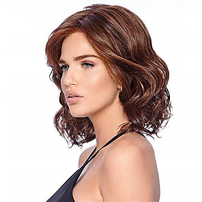 cheap Synthetic Trendy Wigs-Synthetic Wig Curly Matte Side Part Wig Long Dark Brown / Dark Auburn Synthetic Hair 14 inch Women's Ombre Hair curling Fluffy Brown