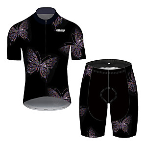 cheap Cycling Jersey & Shorts / Pants Sets-21Grams Men's Short Sleeve Cycling Jersey with Shorts Black Bike UV Resistant Quick Dry Sports Patterned Mountain Bike MTB Road Bike Cycling Clothing Apparel / Stretchy