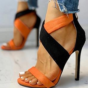 cheap Women's Heels-Women's Sandals Summer Stiletto Heel Open Toe Daily Suede Orange