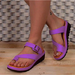 cheap Women's Sandals-Women's Sandals Flat Sandals Bunion Sandals Orthopedic Sandals Summer Flat Heel Open Toe Daily PU Purple / Red / Gray
