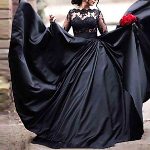 cheap Latin Dancewear-A-Line Wedding Dresses Scoop Neck Sweep / Brush Train Lace Stretch Satin Long Sleeve Formal Black Modern with Appliques 2020