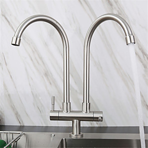 cheap Kitchen Faucets-Stainless Steel Faucet Single Cooling Double Pipe Double Handle Kitchen Sink Double Outlet Faucet