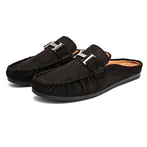 cheap Men's Slip-ons & Loafers-Men's Spring & Summer / Fall & Winter Classic / British Daily Home Clogs & Mules Walking Shoes Nappa Leather Black / Army Green / Gray