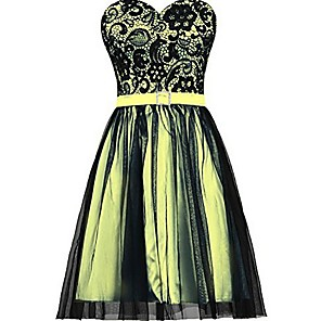 cheap Prom Dresses-A-Line Elegant Floral Party Wear Cocktail Party Dress Sweetheart Neckline Sleeveless Knee Length Satin Tulle with Sash / Ribbon Pleats 2020