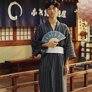 cheap Anime Costumes-Adults' Men's Kimonos Outfits Japanese Traditional Kimono Jinbei Bathrobe For Halloween Daily Wear Festival Cotton Kimono Coat Waist Belt