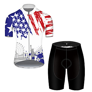 cheap Cycling Jersey & Shorts / Pants Sets-21Grams Men's Short Sleeve Cycling Jersey with Shorts Nylon Polyester Black / White American / USA National Flag Bike Clothing Suit Breathable Quick Dry Ultraviolet Resistant Reflective Strips