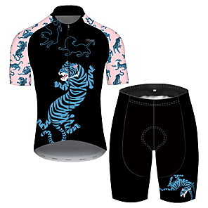 cheap Cycling Jersey & Shorts / Pants Sets-21Grams Men's Short Sleeve Cycling Jersey with Shorts Spandex Polyester Black / Pink Oktoberfest Beer Bike Clothing Suit UV Resistant Quick Dry Sports Solid Color Mountain Bike MTB Road Bike Cycling