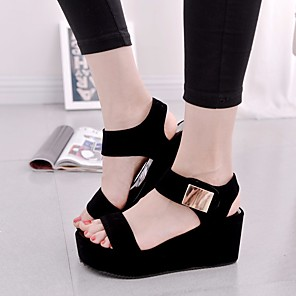 cheap Women's Sandals-Women's Sandals Wedge Sandals Summer Creepers Open Toe Daily PU White / Black