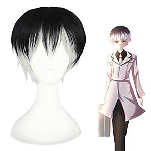 cheap Synthetic Trendy Wigs-Cosplay Costume Wig Cosplay Wig Sasaki Haise Tokyo Ghoul Straight With Bangs Wig Short Black Synthetic Hair 12 inch Women's Anime Cosplay Ombre Hair Black