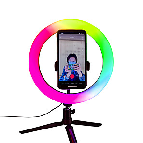 cheap Portable Speakers-Ring Light 6000K RGB Color Dimming Fill Light Photographic Selfie Ring Lighting With Stand For Smartphone 16cm 26cm