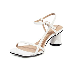 cheap Women's Sandals-Women's Sandals 2020 Summer Cuban Heel Open Toe Preppy Minimalism Party & Evening Office & Career Buckle Plaid / Check PU White / Black / Pink