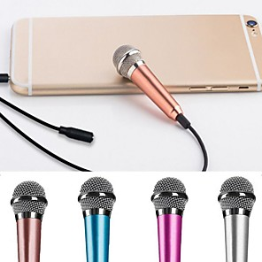 cheap Microphones-Karaoke Microphone Wired Mic  Handheld Microphone Blue 3.5 Plug For Phone Pc Computer