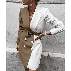 cheap Women's Boots-Women's Daily Long Coat, Color Block Notch Lapel Long Sleeve Polyester Red / Khaki / Black