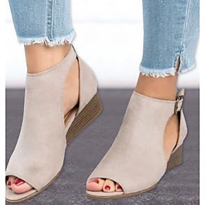 cheap Women's Sandals-Women's Sandals Wedge Sandals Summer Wedge Heel Peep Toe Daily Synthetics Black / Brown / Beige