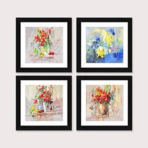 cheap Framed Arts-Framed Art Print Framed Set 4 American Style Pastoral Decorative Painting French Style Dining room Fresco Porch Bedroom Bedside  Abstract Flowers Hanging Pictures