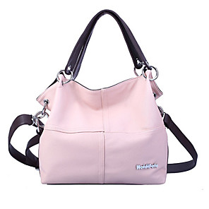 cheap Handbag & Totes-Women's Zipper PU Tote Solid Color Black / Blushing Pink / Khaki
