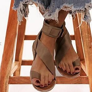 cheap Women's Sandals-Women's Sandals Summer Flat Heel Open Toe Daily PU Black / Khaki / Coffee / Bunion Sandals