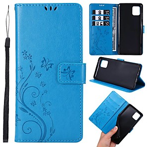 cheap Samsung Case-Case For Samsung Galaxy A51/A71/A50 Wallet / Card Holder / with Stand Full Body Cases Butterfly / Solid Colored PU Leather For Galaxy A11/A81/A10S/A20S/A30S/A50S/A10/A20/A20E/A30/A70