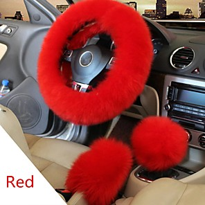 cheap Steering Wheel Covers-Winter Furry Car Steering Wheel  Gear Knob Shifter Parking Brake Covers Set 3Pcs