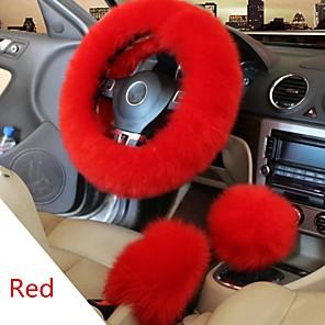 ieftine Husă Volan-iarna de blană mașină volan buton schimbător schimbător frâne de parcare set 3 buc
