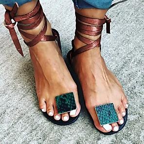 cheap Women's Sandals-Women's Sandals Flat Sandal Summer Flat Heel Open Toe Daily PU Red / Green / Brown