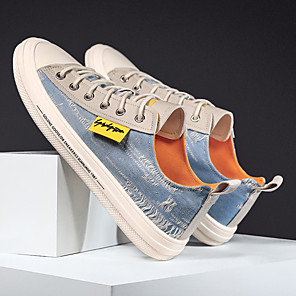 cheap Men's Sneakers-Men's Summer Casual / Preppy Daily Office & Career Sneakers Walking Shoes Canvas Breathable Non-slipping Wear Proof Black / Dark Blue / Light Blue