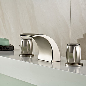 cheap Bathroom Sink Faucets-Bathroom Sink Faucet - Widespread / Waterfall Nickel Brushed Deck Mounted Two Handles Three HolesBath Taps